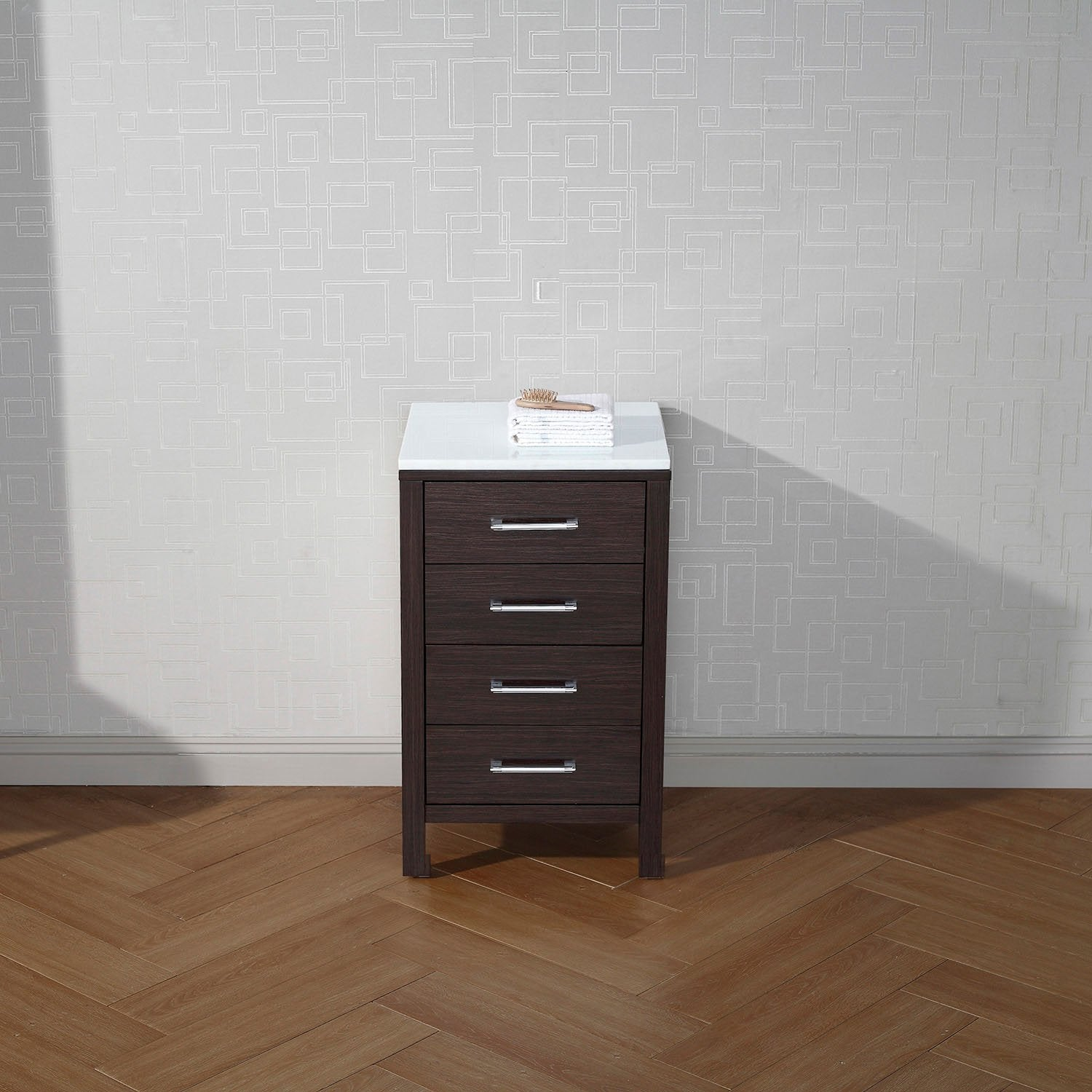 Dior 18″ Side Bathroom Cabinet in Espresso with White Engineered ...