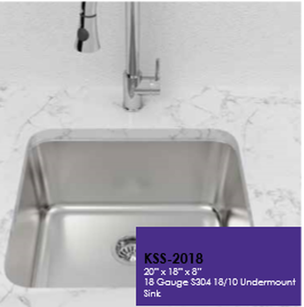 Buy Cantrio Koncepts KSS-2018 304 Kitchen Steel Series Single Bowl Kitchen Sink - Zen Tap Sinks