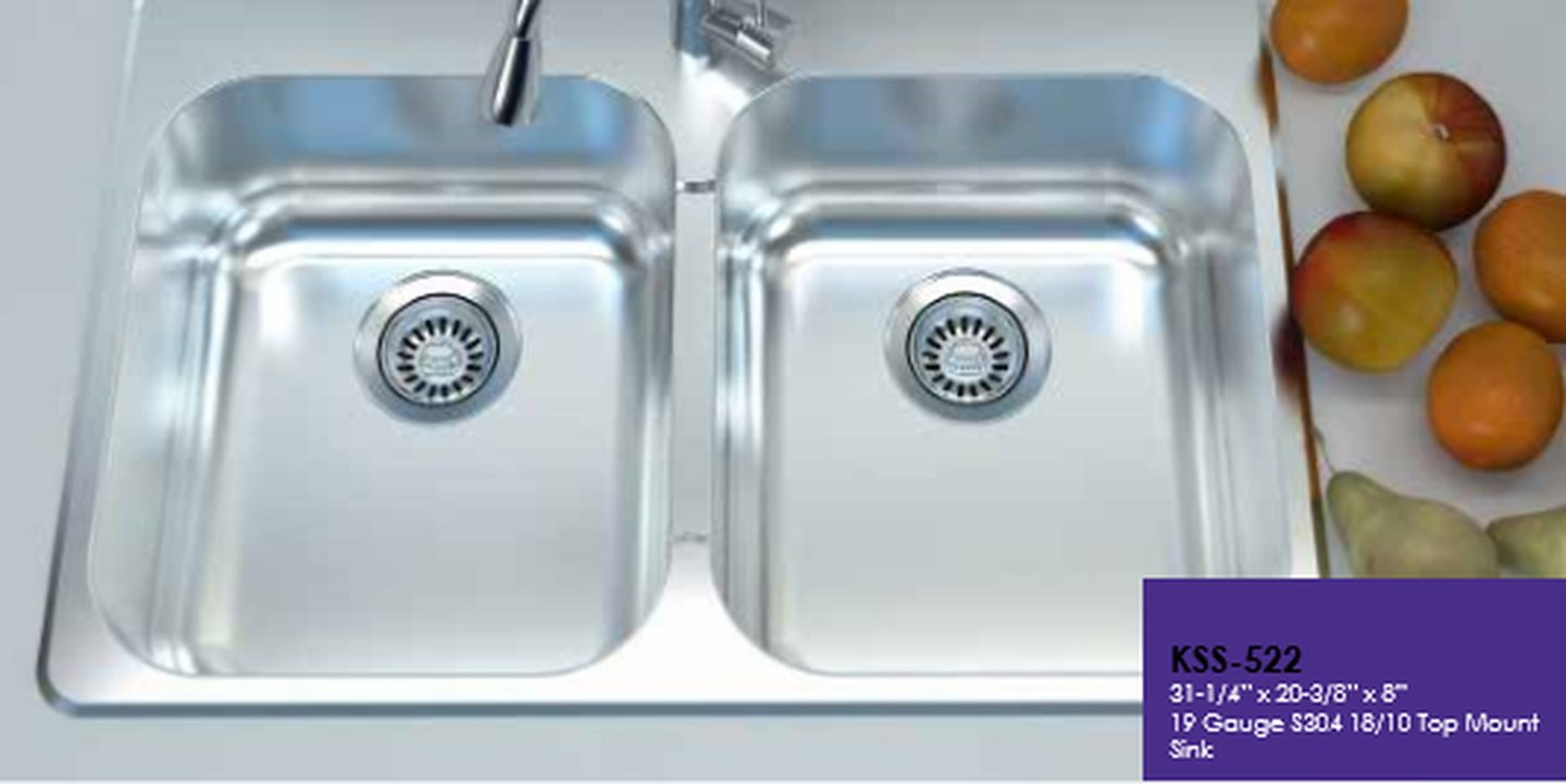 Cantrio Koncepts KSS-522 Stainless Kitchen Sink with 1 or 3 Faucet ...