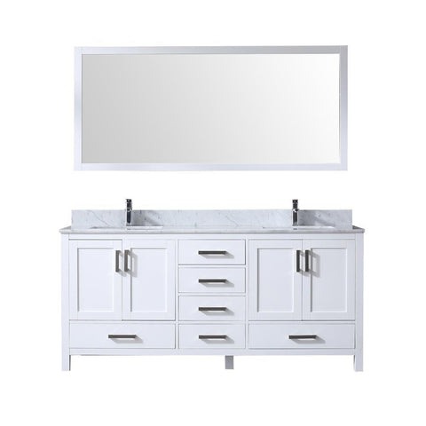 "Jacques 72"" Double Vanity, White Carrara Marble Top, White Square Sinks and 70"" Mirror"