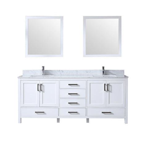 "Jacques 80"" Double Vanity, White Carrara Marble Top, White Square Sinks and 30"" Mirrors"