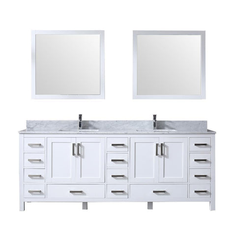 "Jacques 84"" Double Vanity, White Carrara Marble Top, White Square Sinks and 34"" Mirrors"