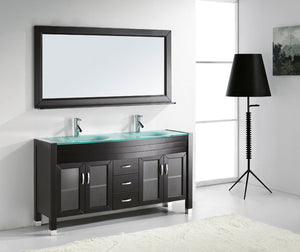 Ava 63″ Double Vanity in Espresso with Aqua Tempered Glass Top Integrated Round Sink and Brushed Nickel Faucet with Mirror