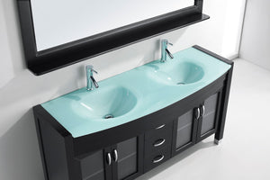 Ava 63″ Double Vanity in Espresso with Aqua Tempered Glass Top Integrated Round Sink and Polished Chrome Faucet with Mirror