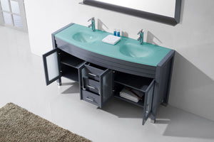Ava 63″ Double Vanity in Grey with Aqua Tempered Glass Top Integrated Round Sink and Polished Chrome Faucet with Mirror