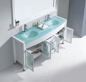Ava 63″ Double Vanity in White with Aqua Tempered Glass Top Integrated Round Sink and Polished Chrome Faucet with Mirror