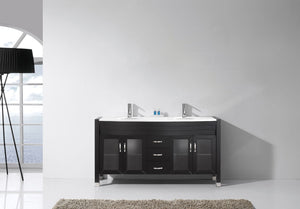 Ava 63″ Double Vanity in Espresso with White Engineered Stone Top Integrated Round Sink and Polished Chrome Faucet with MIrror
