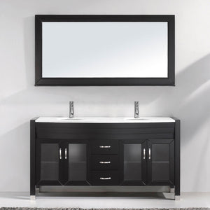 Ava 63″ Double Vanity in Espresso with White Engineered Stone Top Integrated Round Sink and Brushed Nickel Faucet with MIrror