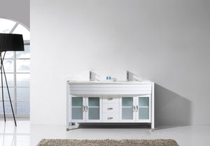 Ava 63″ Double Vanity in White with White Engineered Stone Top Integrated Round Sink and Brushed Nickel Faucet with MIrror