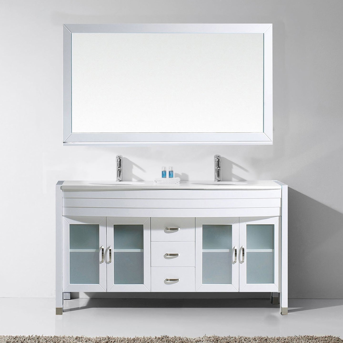 Ava 63″ Double Vanity in White with White Engineered Stone Top Integrated Round Sink and Polished Chrome Faucet with MIrror