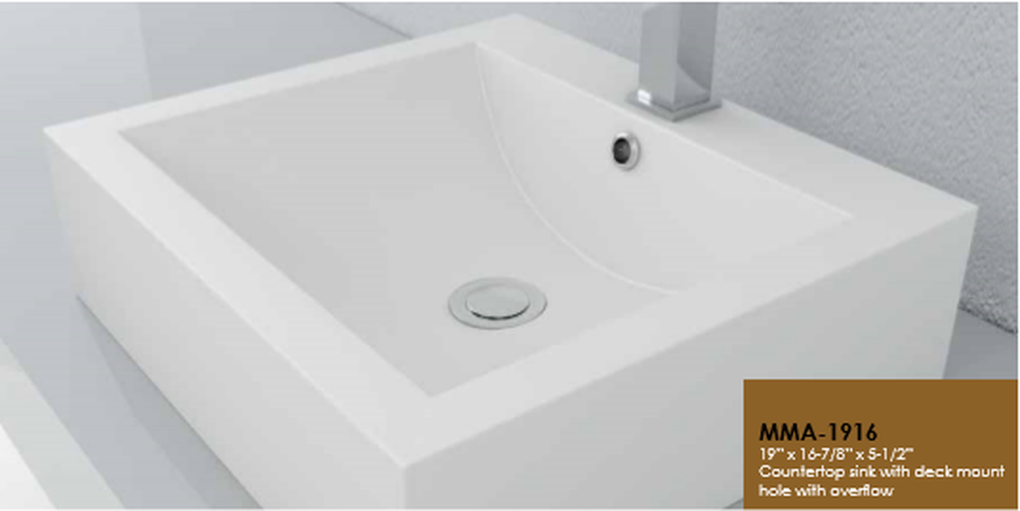 Buy Cantrio Koncepts MMA-1916 Solid Surface Coutertop Basin with overflow - Zen Tap Sinks