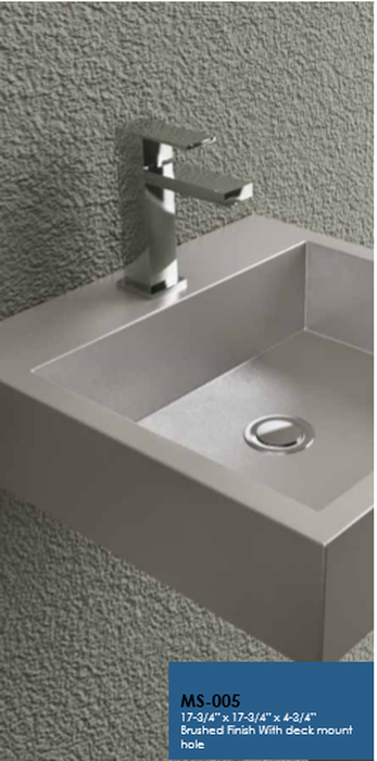 Buy Cantrio Koncepts MS-005 Stainless Steel Wall Hung Vessel Sink Brushed finis - Zen Tap Sinks