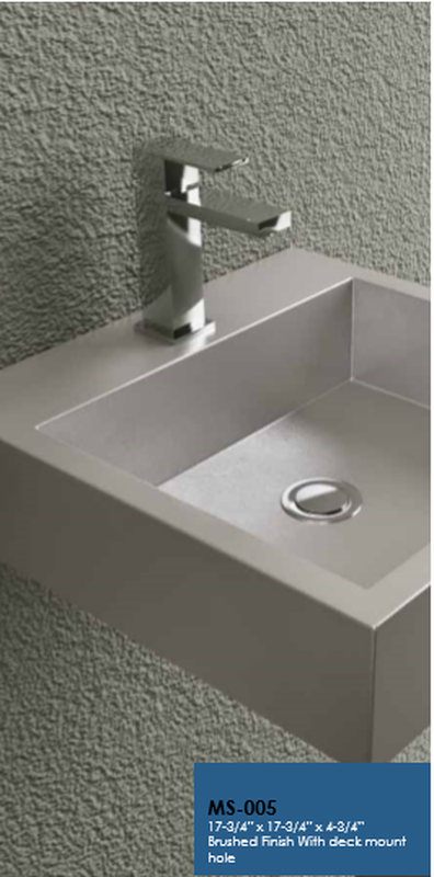 Buy Cantrio Koncepts MS 005 Stainless Steel Wall Hung Vessel Sink Brushed  Finis   Zen