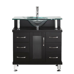 Vincente 32″ Single Bathroom Vanity in Espresso with Tempered Glass Top Round Sink
