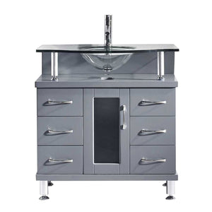 Vincente 32″ Single Bathroom Vanity in Grey with Tempered Glass Top Round Sink