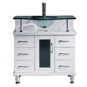 Vincente 32″ Single Bathroom Vanity in White with Tempered Glass Top Round Sink