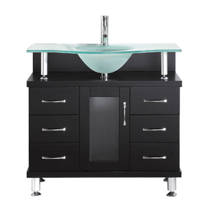 Vincente 36″ Single Bathroom Vanity in Espresso with Frosted Tempered Glass Round Sink