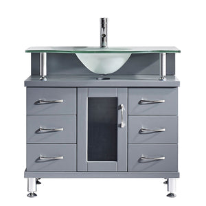 Vincente 36″ Single Bathroom Vanity in Grey with Frosted Tempered Glass Round Sink