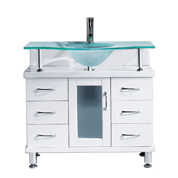 Vincente 36″ Single Bathroom Vanity in White with Frosted Tempered Glass Round Sink