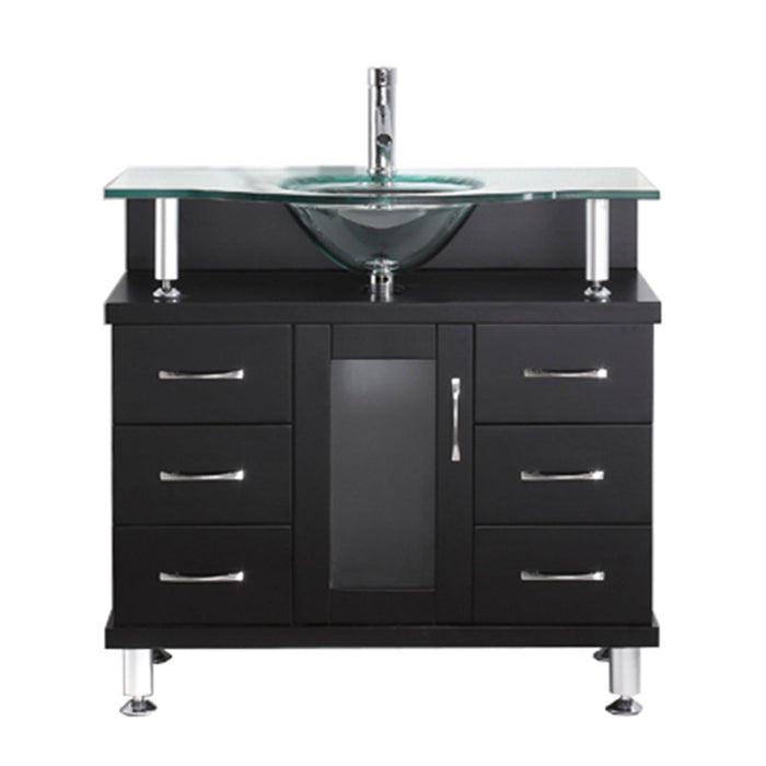Vincente 36″ Single Bathroom Vanity in Espresso with Clear Tempered Glass Round Sink