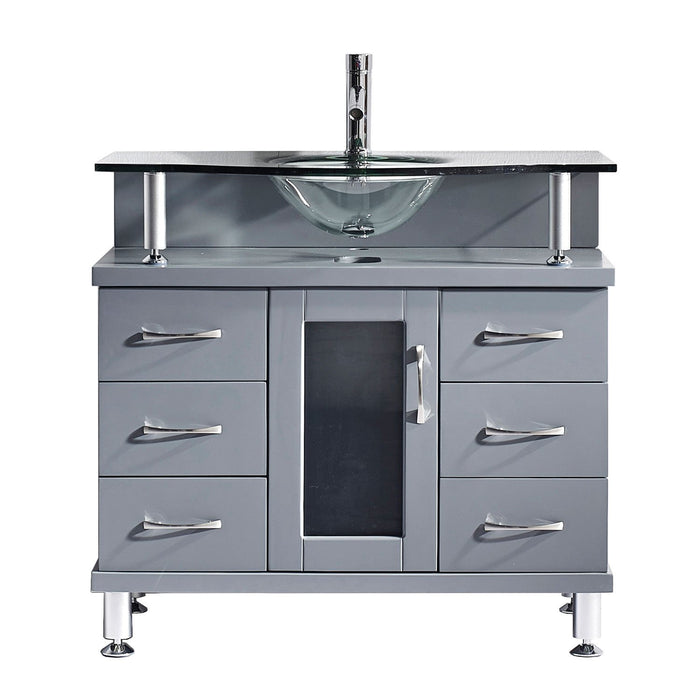Vincente 36″ Single Bathroom Vanity in Grey with Clear Tempered Glass Round Sink