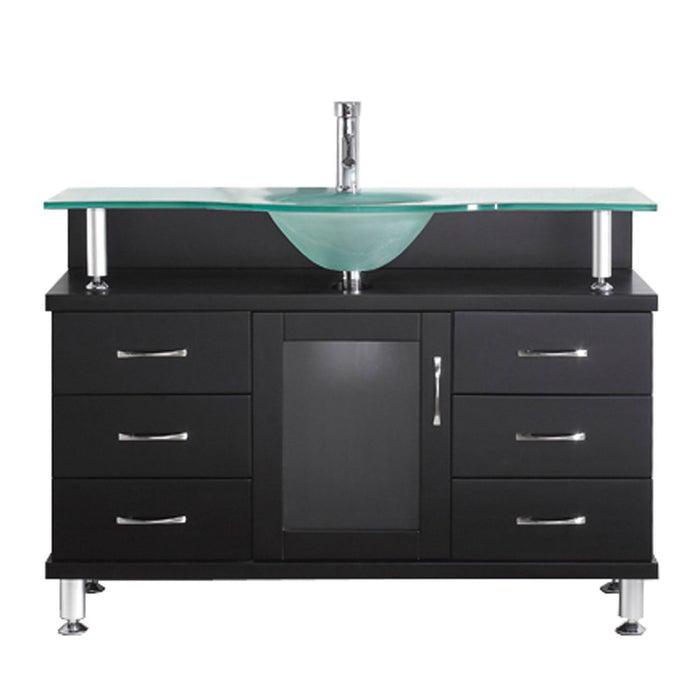Vincente 48″ Single Bathroom Vanity in Espresso with Frosted Temprered Glass Round Sink