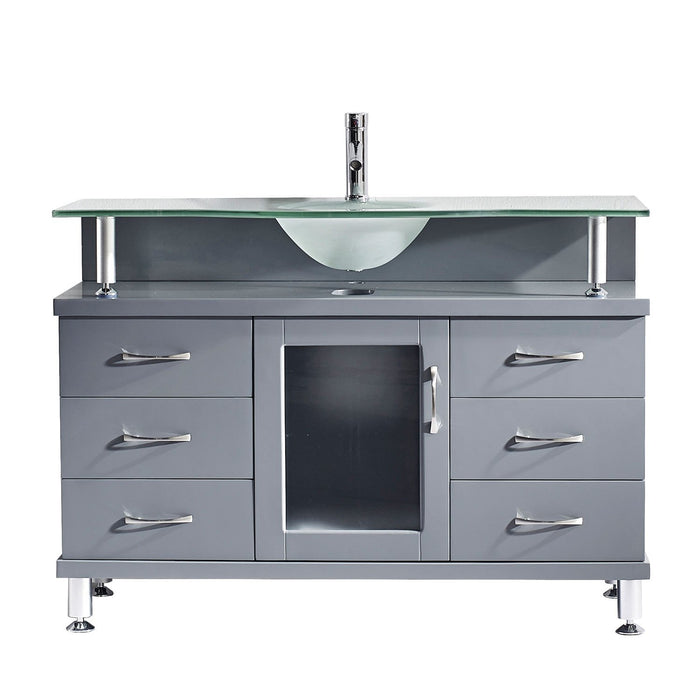 Vincente 48″ Single Bathroom Vanity in Grey with Frosted Temprered Glass Round Sink