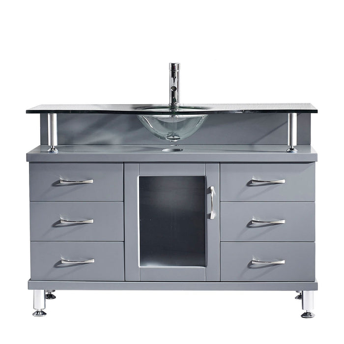 Vincente 48″ Single Bathroom Vanity in Grey with Clear Temprered Glass Round Sink