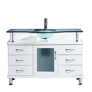 Vincente 48″ Single Bathroom Vanity in White with Clear Temprered Glass Round Sink