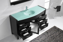 Ava 55″ Single Bathroom Vanity in Espresso with Aqua Tempered Glass Top Round Sink and Brushed Nickel Faucet with MIrror