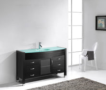 Ava 55″ Single Bathroom Vanity in Espresso with Aqua Tempered Glass Top Round Sink and Polished Chrome Faucet with MIrror