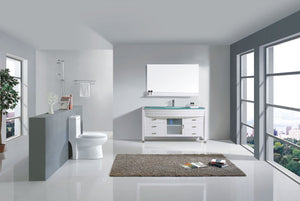 Ava 55″ Single Bathroom Vanity in White with Aqua Tempered Glass Top Round Sink and Polished Chrome Faucet with MIrror