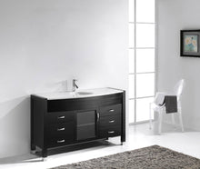 Ava 55″ Single Bathroom Vanity in Espresso with White Engineered Stone Top Round Sink and Brushed NIckel Faucet with MIrror