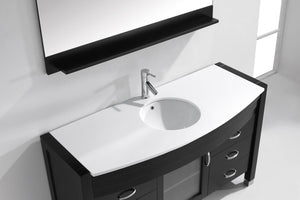 Ava 55″ Single Bathroom Vanity in Espresso with White Engineered Stone Top Round Sink and Polished Chrome Faucet with MIrror