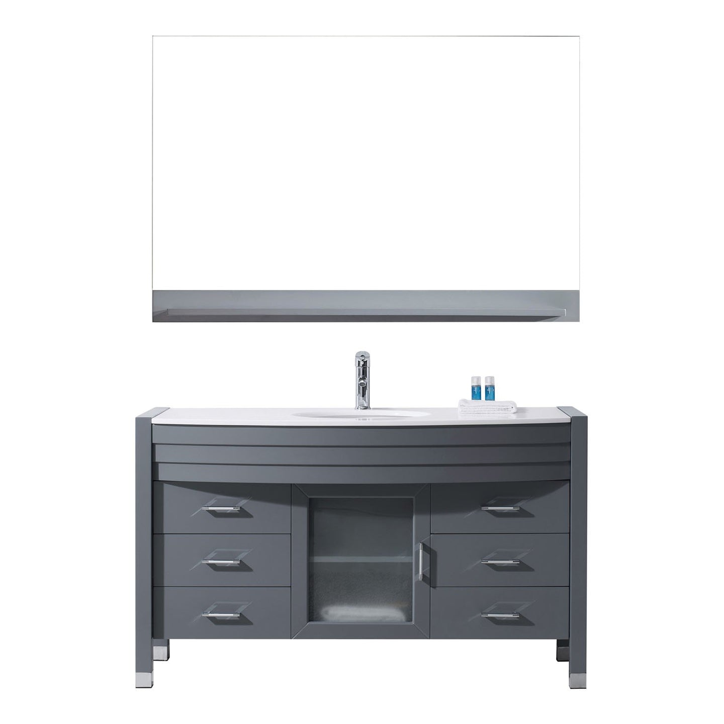 Ava 55″ Single Bathroom Vanity in Grey with White Engineered Stone Top Round Sink and Polished Chrome Faucet with MIrror