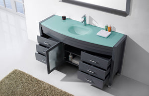 "Ava 61"" Single Bathroom Vanity with Aqua Tempered Glass Top and  Sink with Faucet and Mirror"