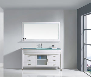 Ava 61″ Single Bathroom Vanity in White with Aqua Tempered Glass Top Round Sink and Polished Chrome Faucet with MIrror