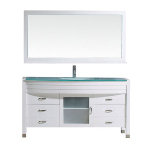 Ava 61″ Single Bathroom Vanity in White with Aqua Tempered Glass Top Round Sink and Brushed Nickel Faucet with MIrror