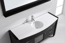 Ava 61″ Single Bathroom Vanity in Espresso with White Engineered Stone Top Round Sink and Polished Chrome Faucet with MIrror