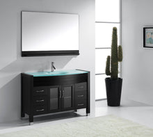 Ava 48″ Single Bathroom Vanity in Espresso Aqua Tempered Glass Top Round Sink and Polished Chrome Faucet with Mirror