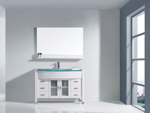 Ava 48″ Single Bathroom Vanity in White Aqua Tempered Glass Top Round Sink and Brushed Nickel Faucet with Mirror
