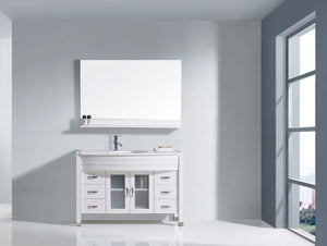 Ava 48″ Single Bathroom Vanity in White with White Engineered Stone Top Round Sink and Brushed Nickel Faucet with MIrror