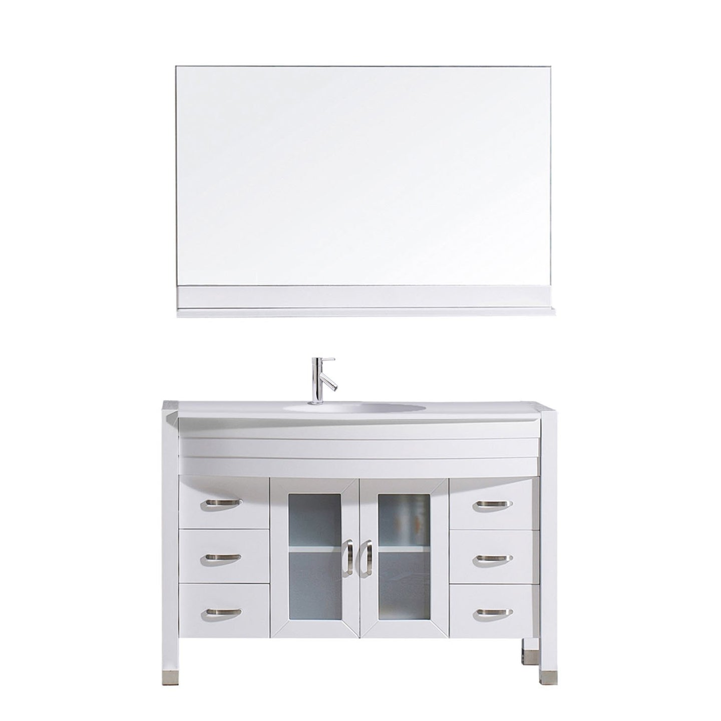 Ava 48″ Single Bathroom Vanity in White with White Engineered Stone Top Round Sink and Polished Chrome Faucet with MIrror
