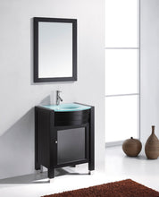 Ava 24″ Single Bathroom Vanity in Espresso with Aqua Tempered Glass Top Round Sink and Polished Chrome Faucet with MIrror