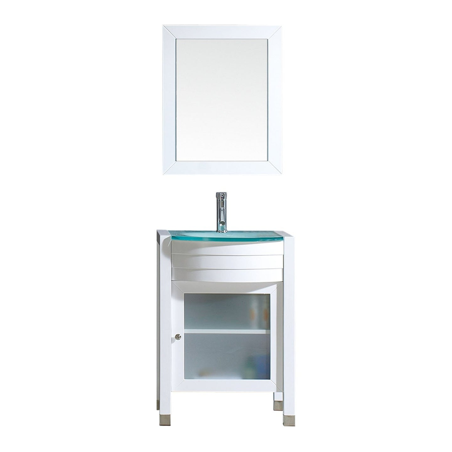 Ava 24″ Single Bathroom Vanity in White with Aqua Tempered Glass Top Round Sink and Brushed Nickel Faucet with MIrror
