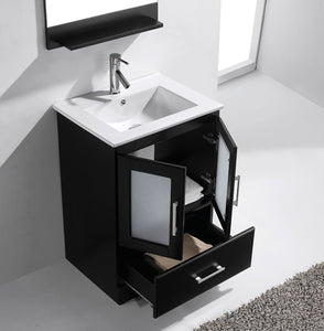 Zola 24″ Single Bathroom Vanity in Espresso with Slim White Ceramic Top Square Sink and Brushed Nickel Faucet with Mirror