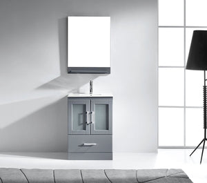 Zola 24″ Single Bathroom Vanity in Grey with Slim White Ceramic Top Square Sink and Brushed Nickel Faucet with Mirror