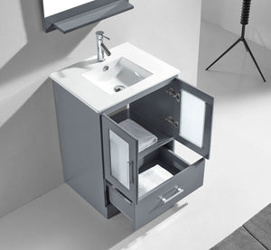 Zola 24″ Single Bathroom Vanity in Grey with Slim White Ceramic Top Square Sink and Polished Chrome Faucet with Mirror