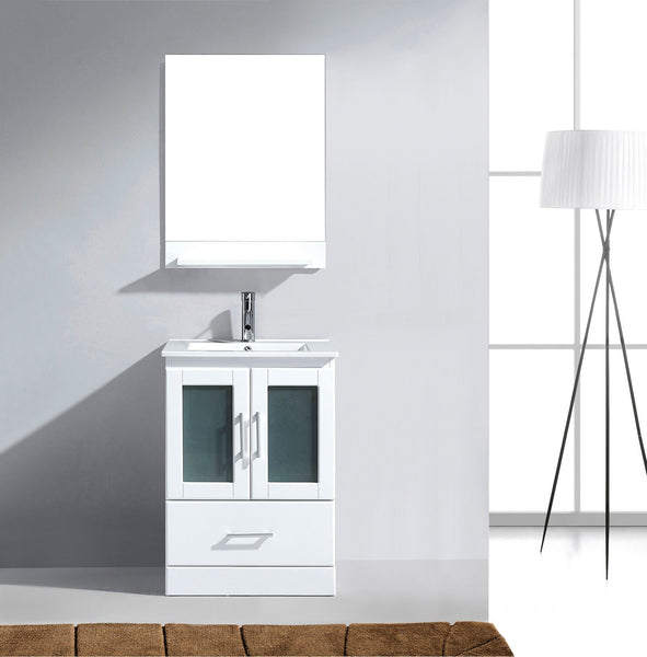 Zola 24″ Single Bathroom Vanity in White with Slim White Ceramic Top Square Sink and Brushed Nickel Faucet with Mirror