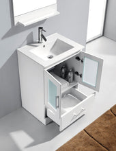 Zola 24″ Single Bathroom Vanity in White with Slim White Ceramic Top Square Sink and Polished Chrome Faucet with Mirror